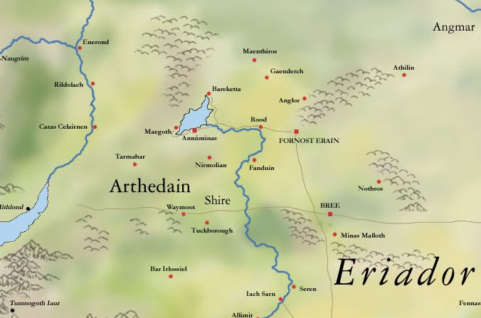 mitologi LOTR - Arthedain map