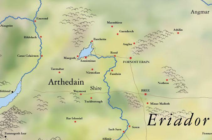 mitologi LOTR - Arthedain map