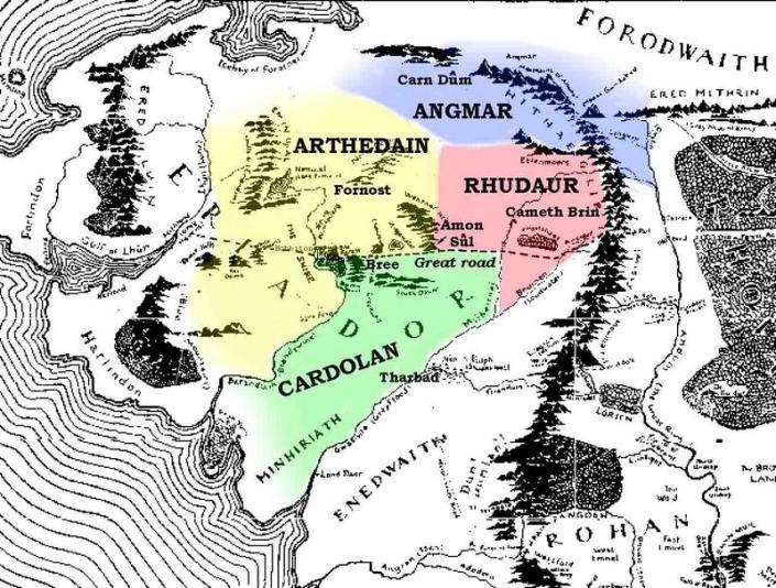mitologi LOTR - Cardolan map